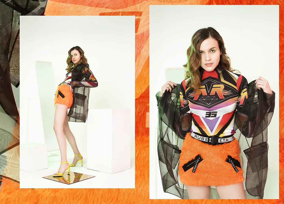 Top y falda RUBEN GALARRETA / Americana de organza 44STUDIO / Zapatos BERSHKA.
